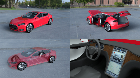Tesla Model S with chassis-interior HDRI - 3DOcean Item for Sale