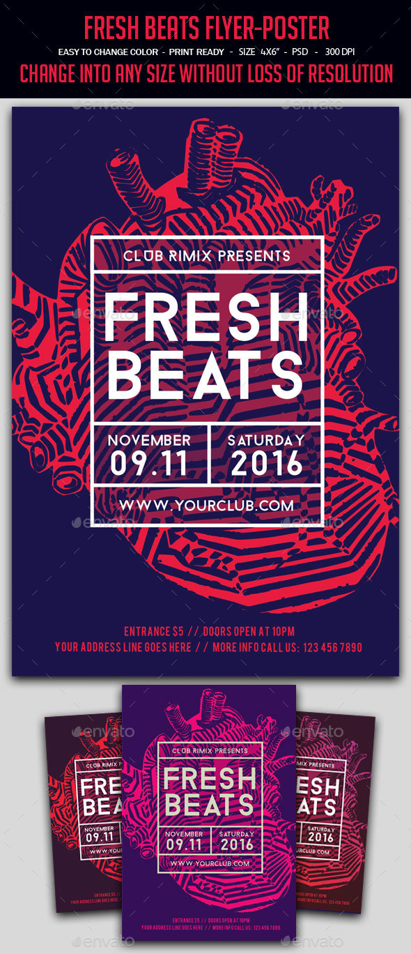 Fresh Beats Flyer-Poster - Clubs & Parties Events