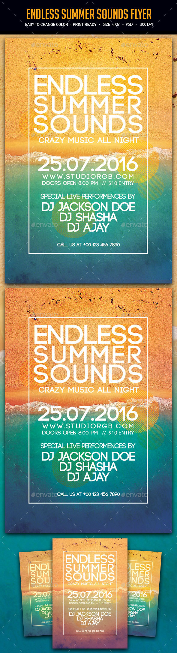 Endless Summer Sounds Flyer - Clubs & Parties Events