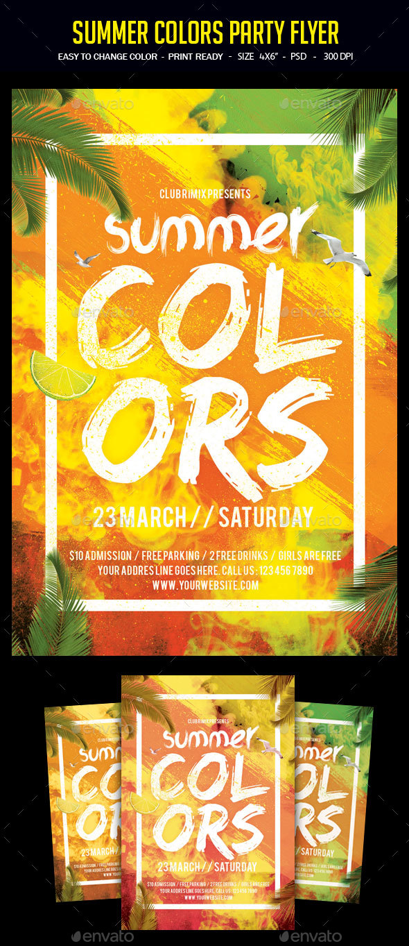 Summer Colors Party Flyer - Clubs & Parties Events