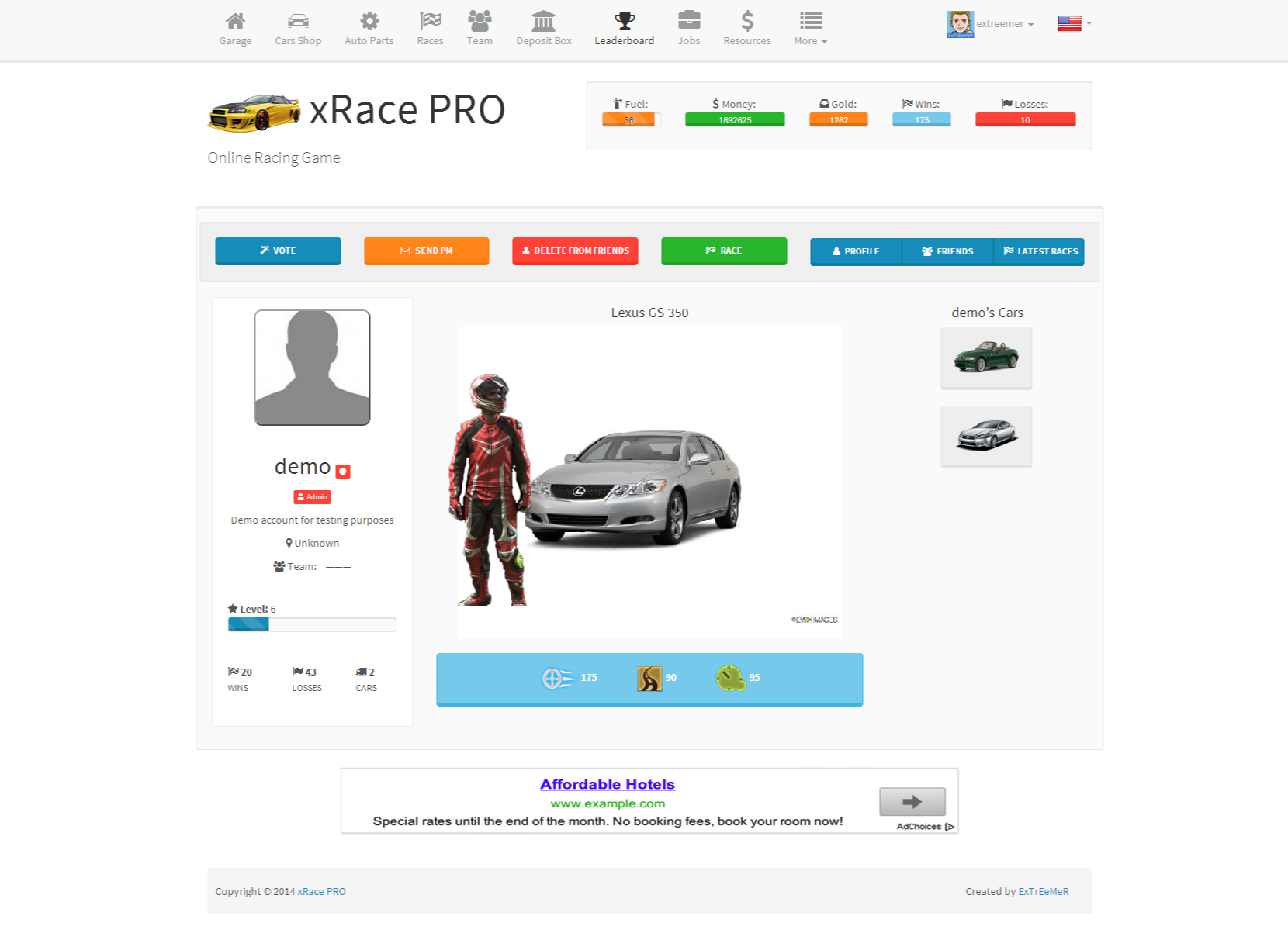 Xrace Pro Create Your Own Browser Game By Antonov Web