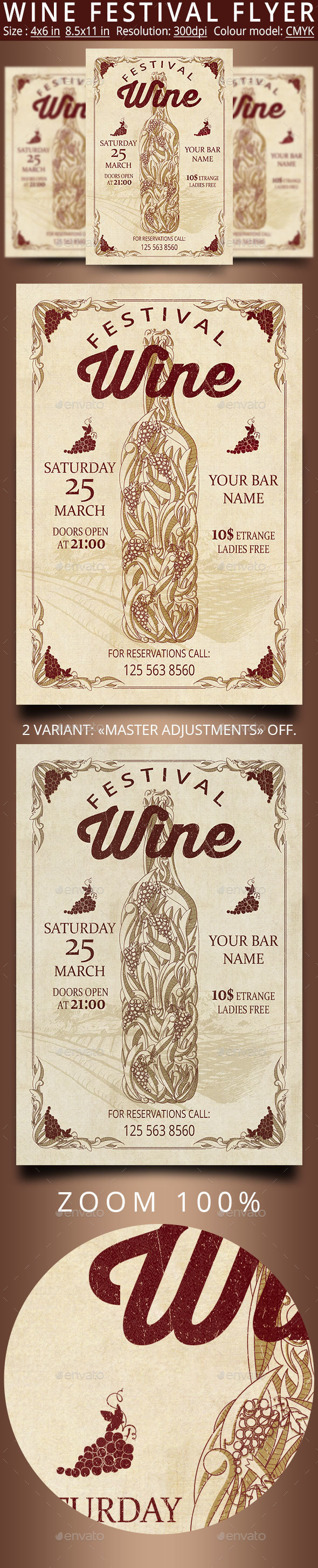 Wine Festival Retro Vintage Flyer - Events Flyers