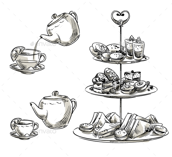 Set of Snacks on a Tray Teatime - Food Objects