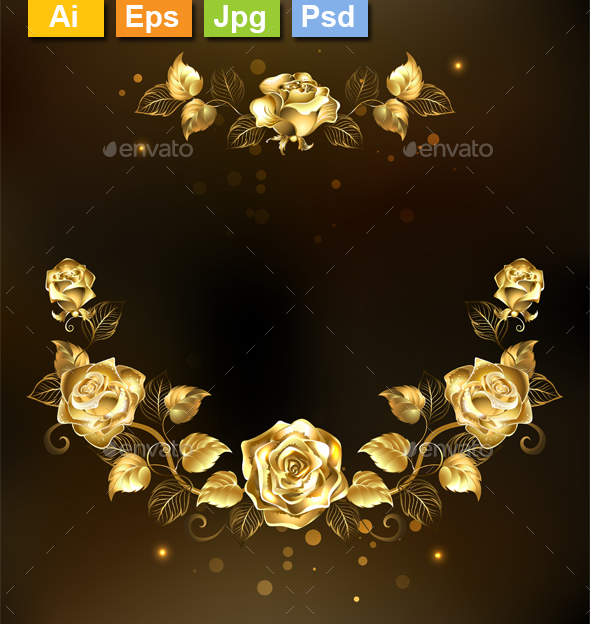 Symmetrical Garland of Gold Roses - Borders Decorative