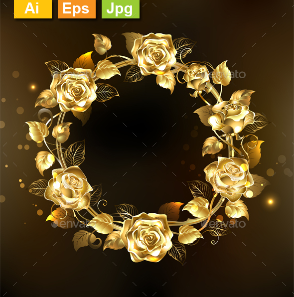 Wreath of Gold Roses - Borders Decorative