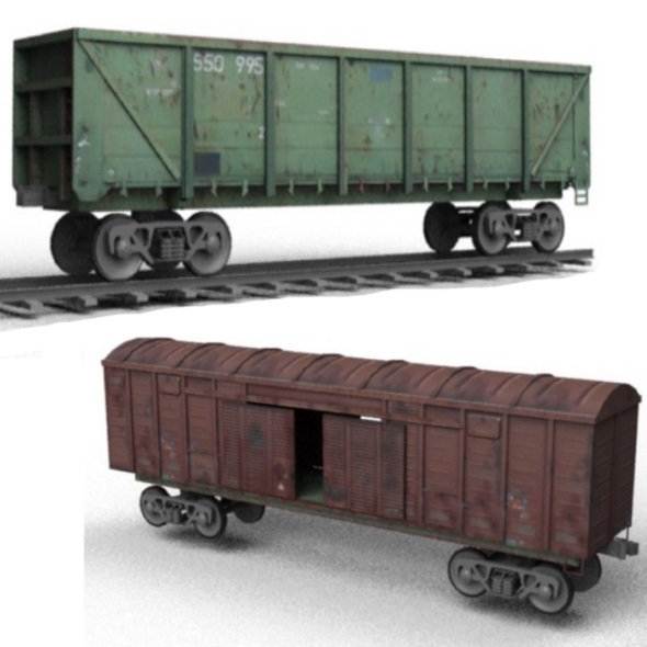Railroad Wagons on Rails - 3DOcean Item for Sale