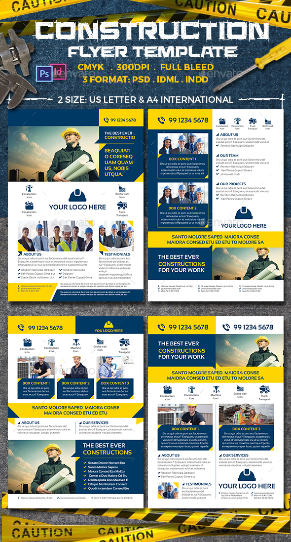 Construction Flyer Templates - Corporate Business Cards