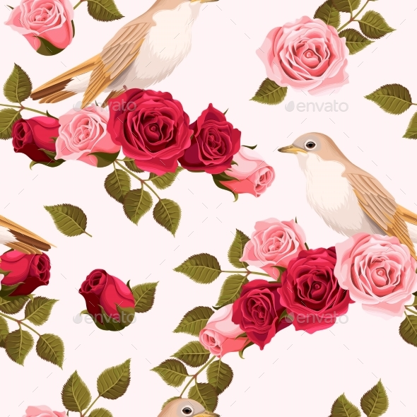 Seamless Nightingale and Roses - Flowers & Plants Nature