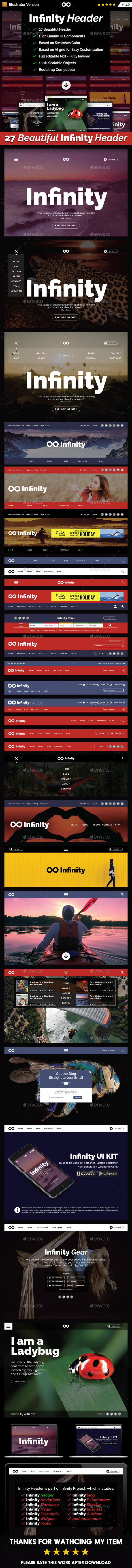Infinity Header - UI Kit - User Interfaces Web Elements