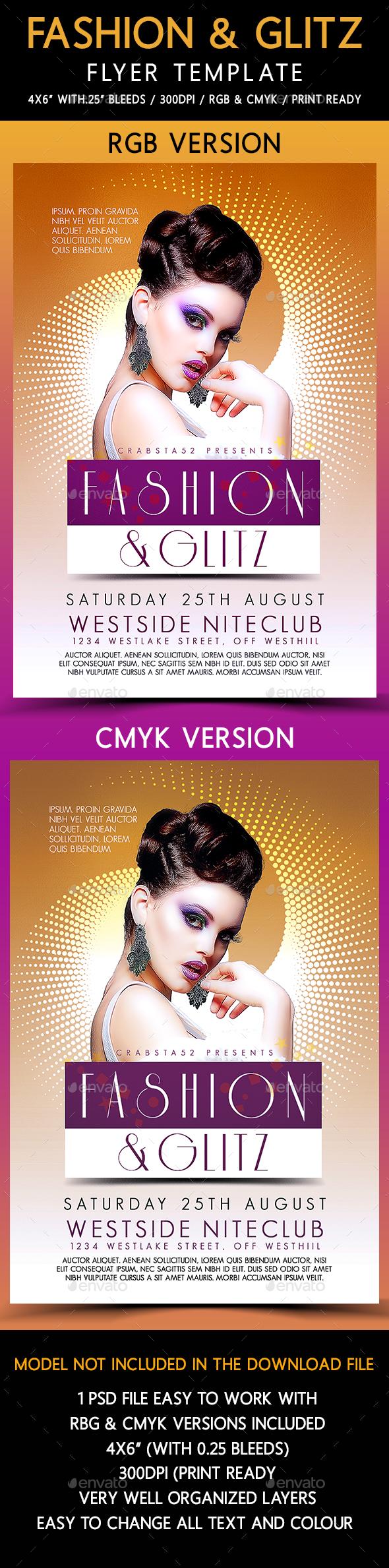 Fashion & Glitz Flyer Template - Flyers Print Templates