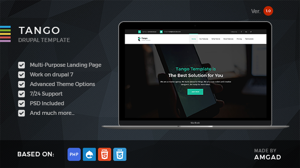 Image of Tango - Responsive Multi-Purpose Landing Drupal Theme