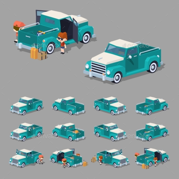 Low Poly Turquoise Retro Pickup - Man-made Objects Objects