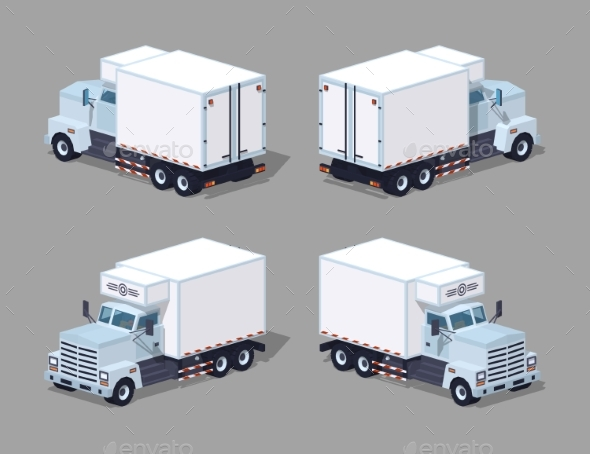 Low Poly White Truck Refrigerator - Man-made Objects Objects