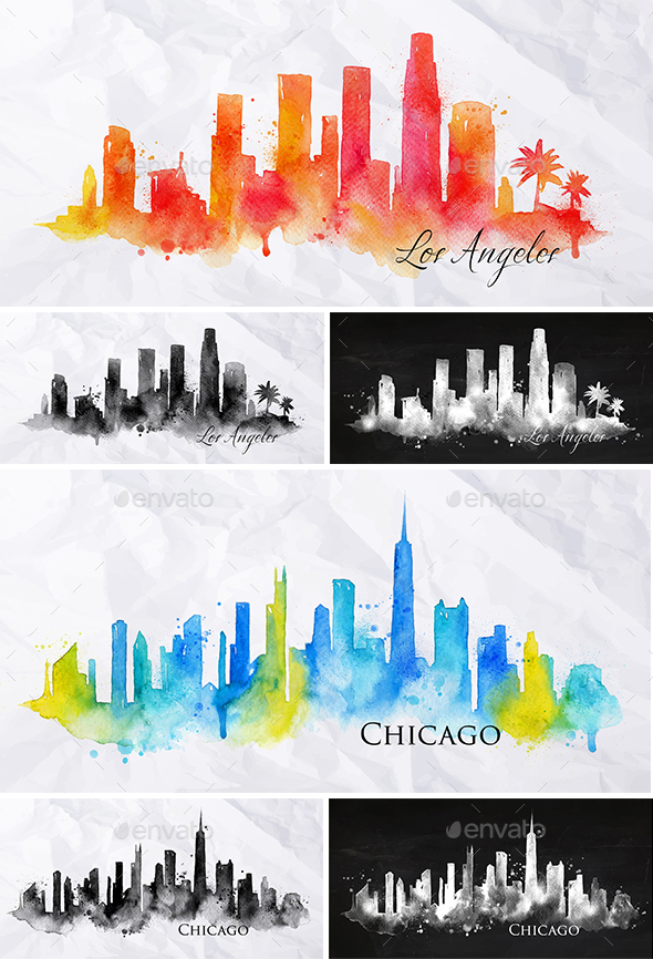 Silhouette City Multi Colored - Buildings Objects