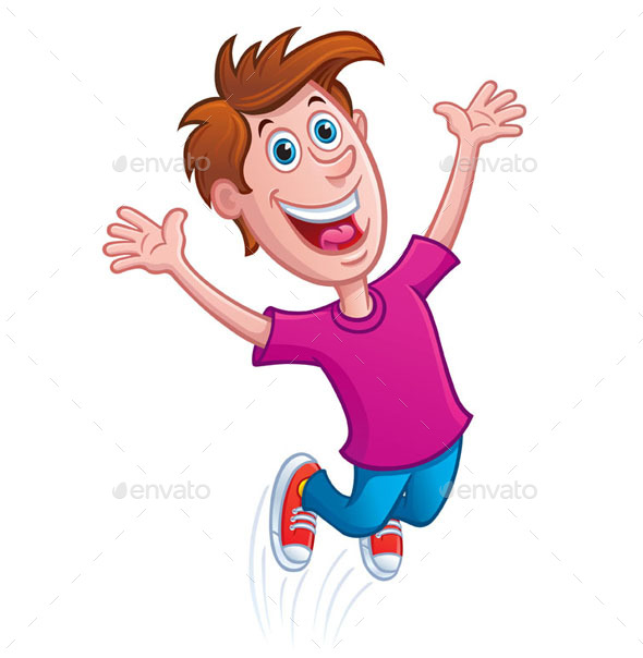 Boy Jumping for Joy - People Characters