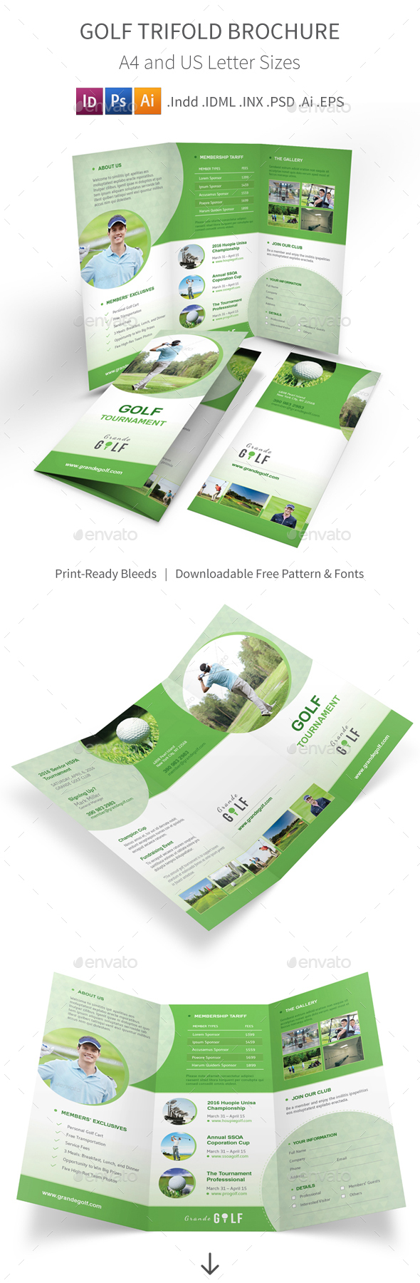 Golf Tournament Trifold Brochure 3 - Informational Brochures