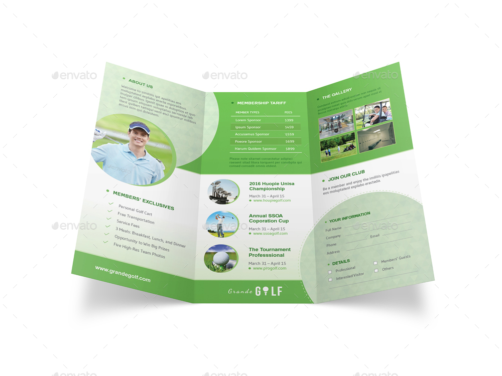 Golf Tournament Trifold Brochure 3 By Mike_Pantone | Graphicriver