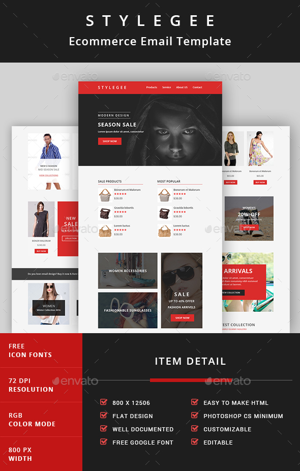Stylegee - Ecommerce Email Template - E-newsletters Web Elements
