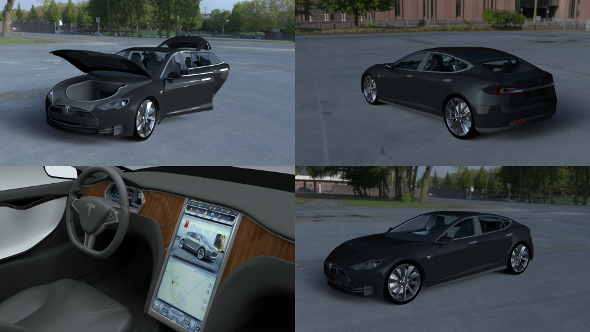 Tesla Model S with interior HDRI - 3DOcean Item for Sale