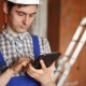 Workman Builder Uses The Tablet - VideoHive Item for Sale
