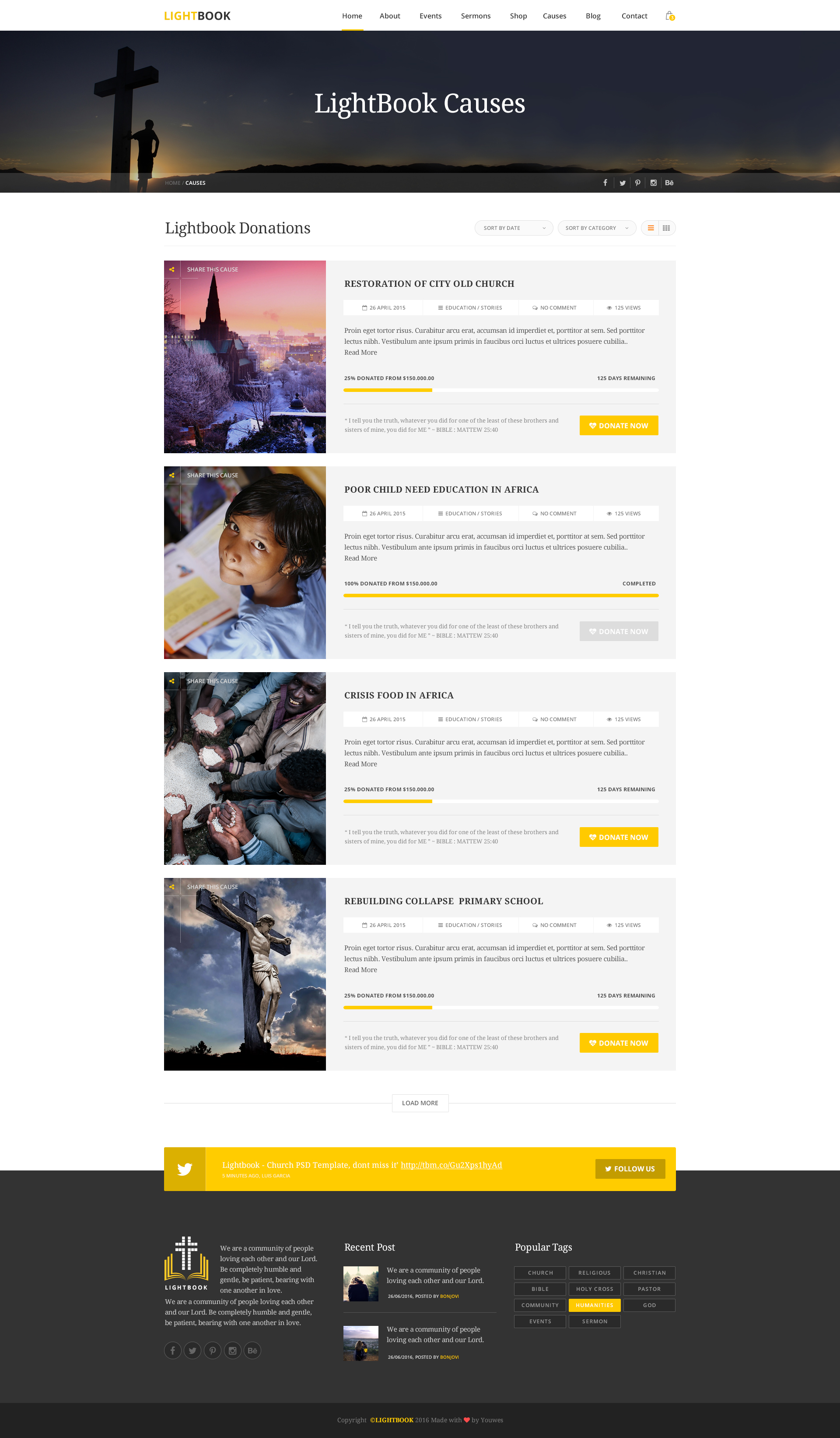 Lightbook Church Psd Template By Youwes Themeforest