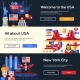 Traveling to the USA Website Headers Banners Set - GraphicRiver Item for Sale
