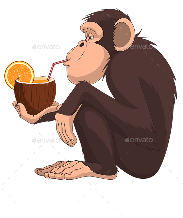 Monkey with a Fruit Cocktail - Animals Characters