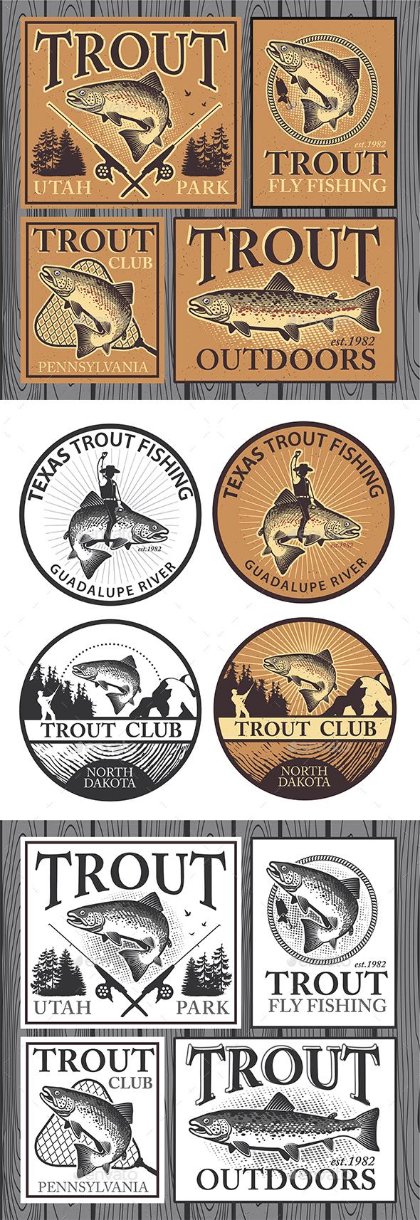 Vintage Trout Fishing Emblems - Sports/Activity Conceptual
