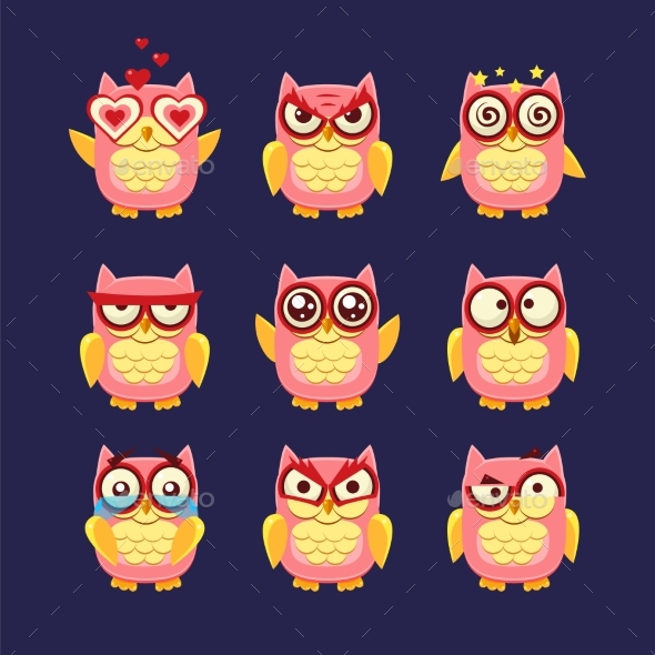 Pink Owl Emoji Collection - Animals Characters