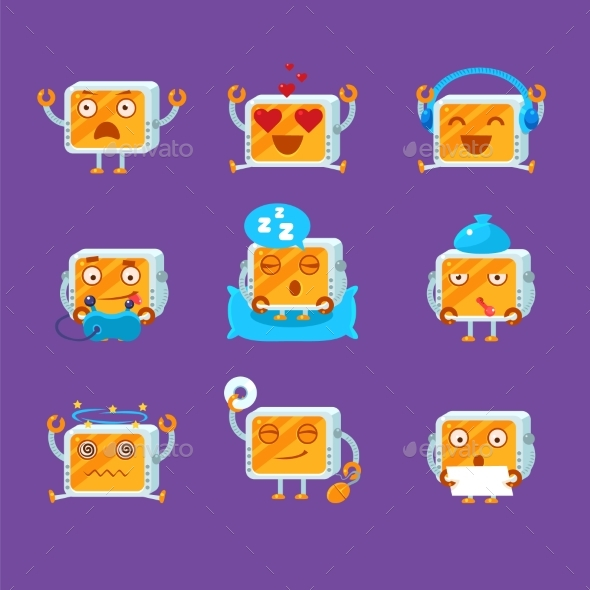 Small Robot Emoji Set - Miscellaneous Characters