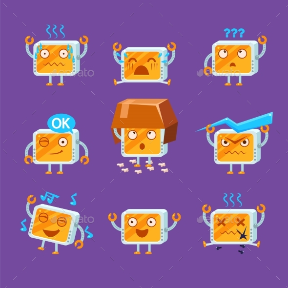 Little Robot Emoji Set - Miscellaneous Characters