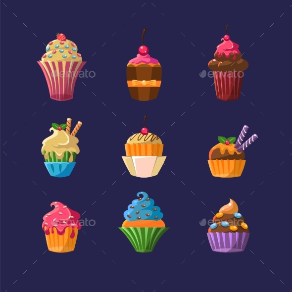 Colorful Cupcakes Collection - Food Objects