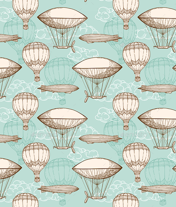 Vintage Seamless Pattern with Air Balloons - Patterns Decorative