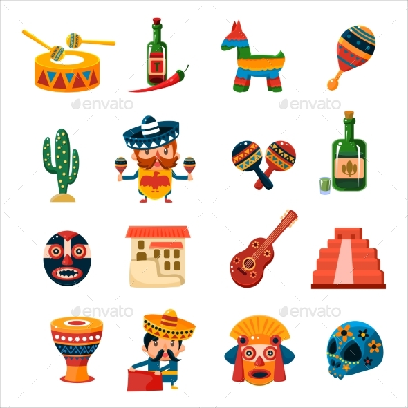 Traditional Mexican Symbols Collection - Decorative Symbols Decorative