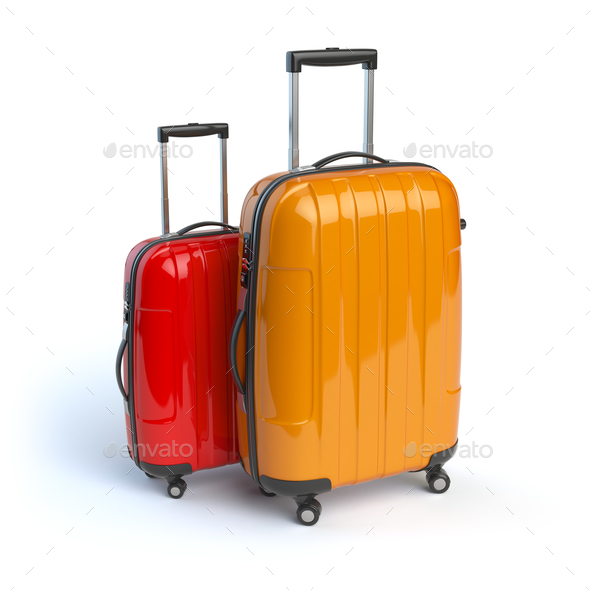 Luggage. Two baggage suitcases  isolated on white. - Stock Photo - Images