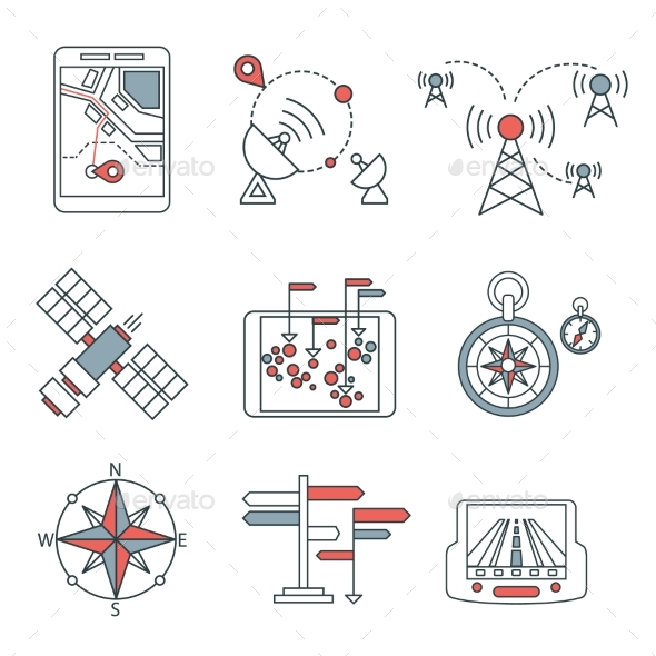 Different Navigation Icons Set With Rounded - Miscellaneous Icons