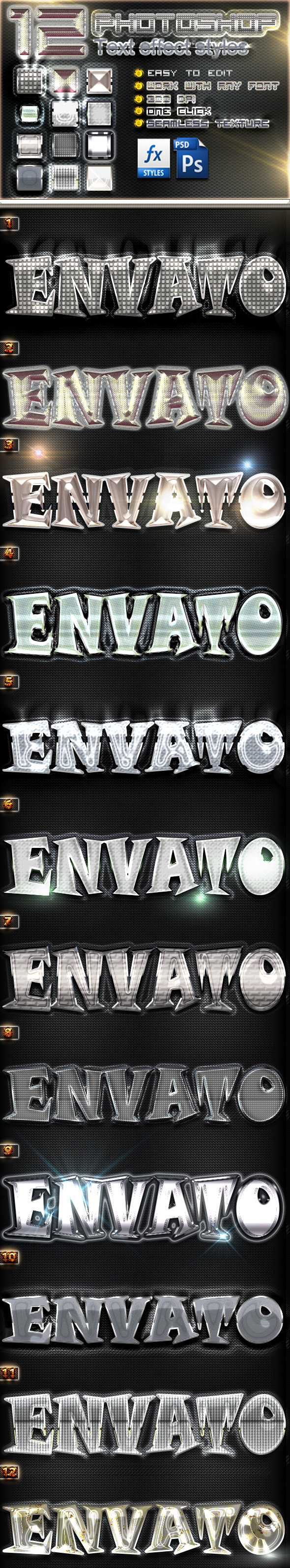 12 Photoshop SILVER Text Effect Styles Vol 20 - Text Effects Styles