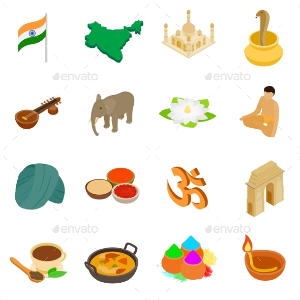 India Isometric 3d Icons Set - Miscellaneous Icons