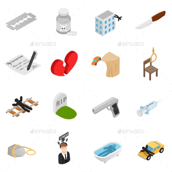 Suicide Isometric 3D Icons - Miscellaneous Icons
