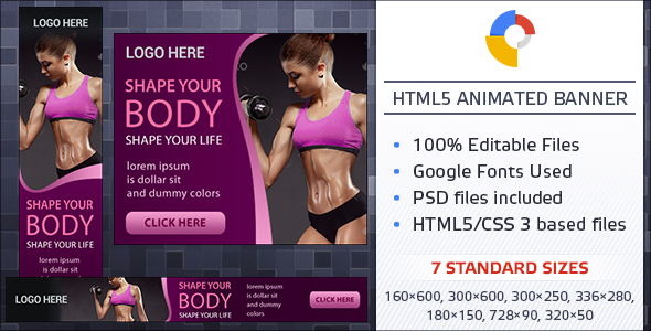Fitness - GWD Banners  - CodeCanyon Item for Sale