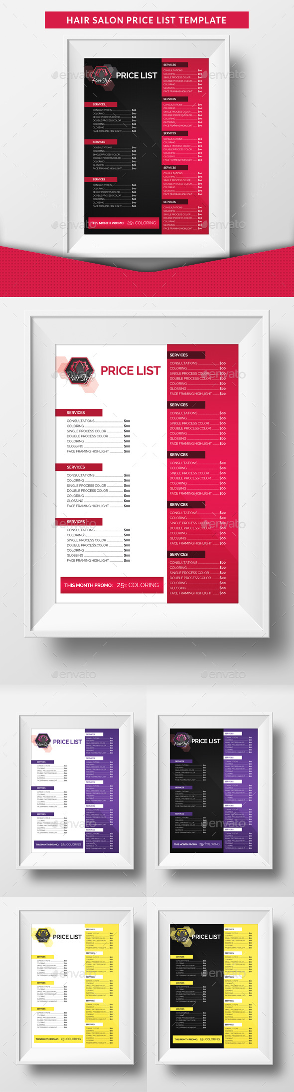 Hair Salon Price List Template   Miscellaneous Print Templates