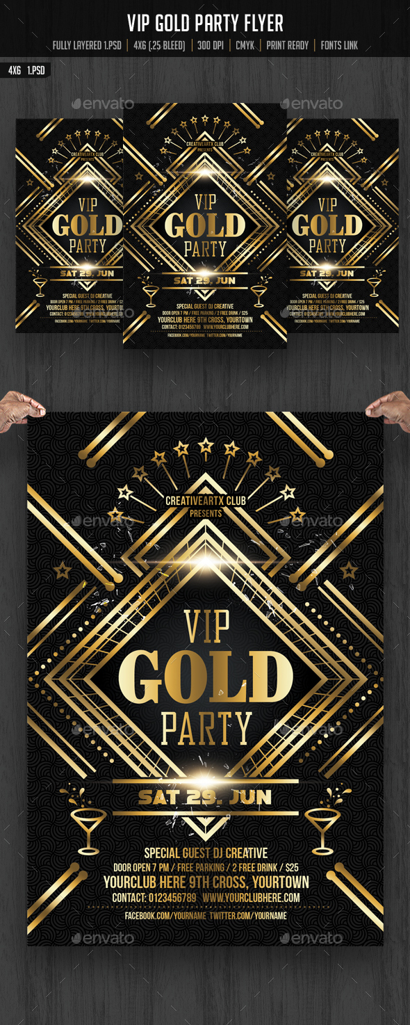 VIP Gold Party Flyer - Clubs & Parties Events