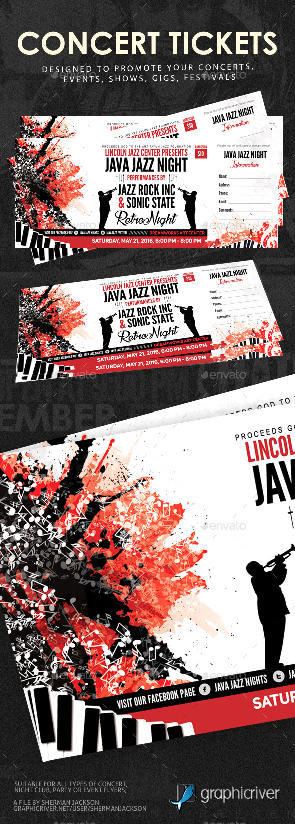 Concert Event Tickets - Miscellaneous Print Templates