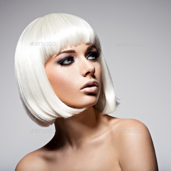 Beautiful woman with hairstyle bob and fashion  black makeup of - Stock Photo - Images