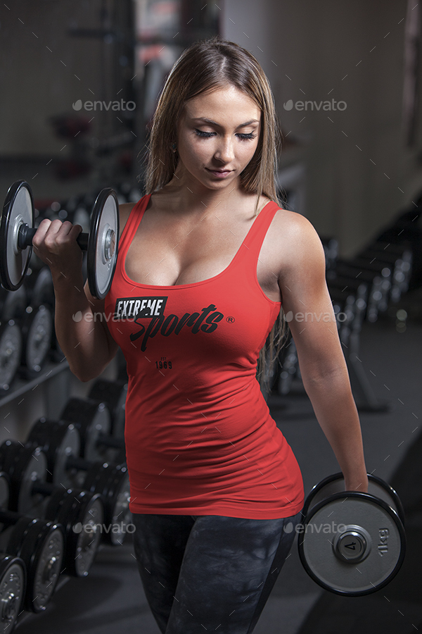 Female fitness gym tank top t shirt mock up by vasaki for Best fitness t shirts