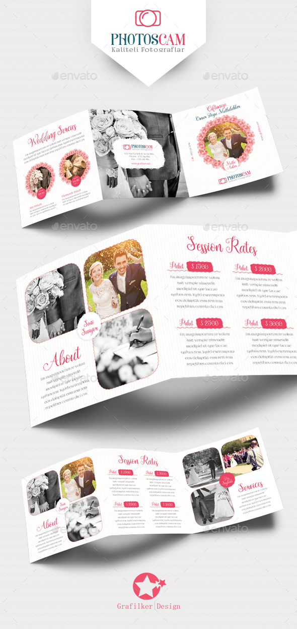 Wedding Square Tri-Fold Templates - Brochures Print Templates