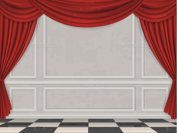 Wall Decorated Moulding Panels and Curtain - Buildings Objects