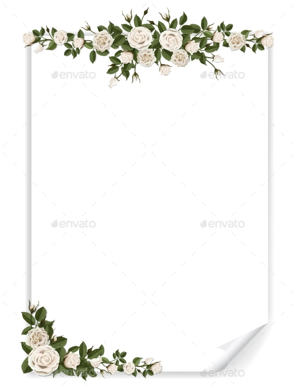White Vertical Paper Sheet Decorated Roses - Flowers & Plants Nature