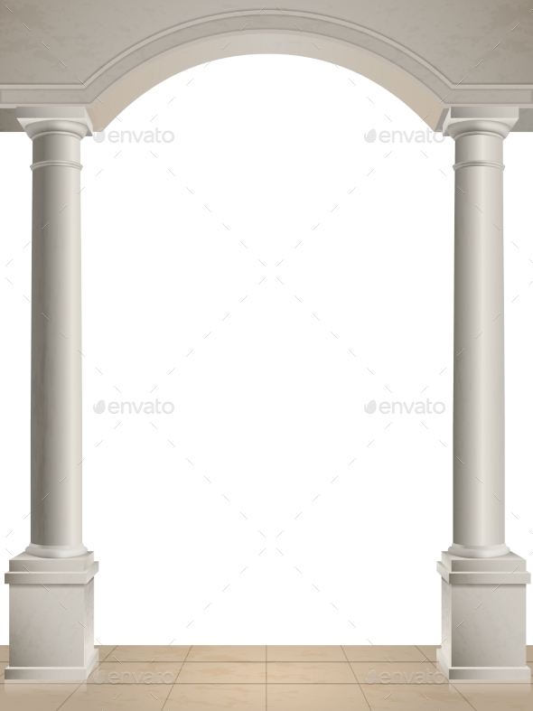 Two Columns on White Background - Buildings Objects