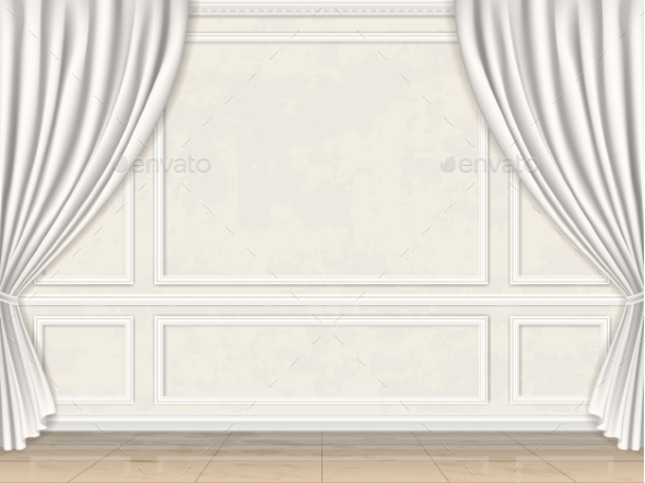 Wall Decorated Panel Mouldings and Curtains - Backgrounds Decorative